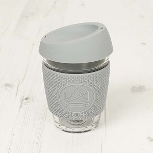 Reusable Glass Cup Grey Forever Young
