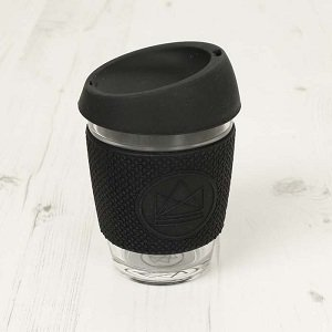 Reusable Glass Cup Black Rock Star